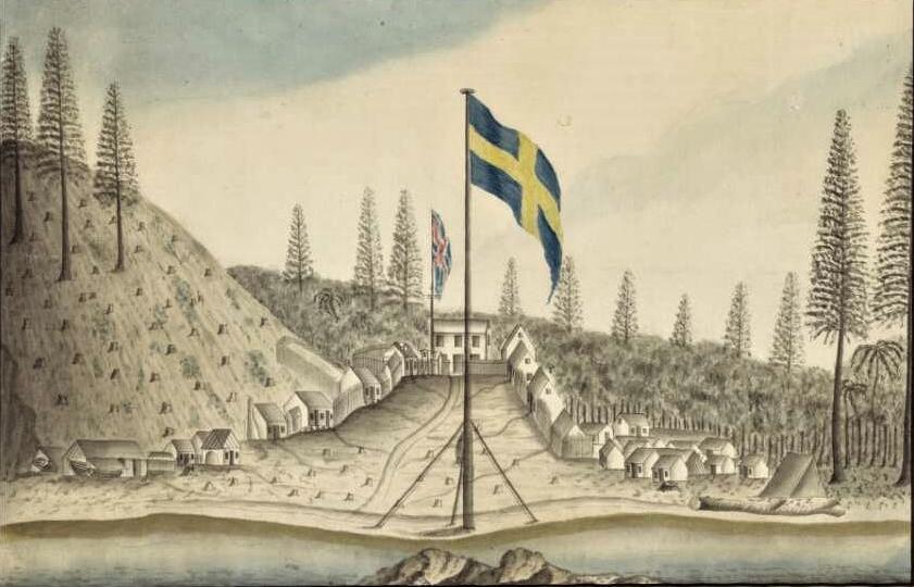'Principal settlement on Norfolk Island' Land clearing Source: George Raper 1790 NLA
