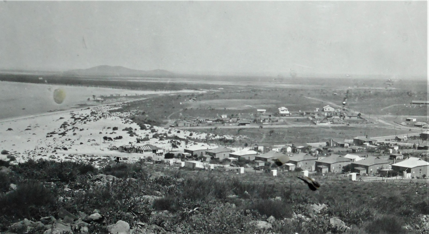 Panorama of Whyalla from Hummock Hill 1935 Threatening sand dune centre Source: National Trust (SA)